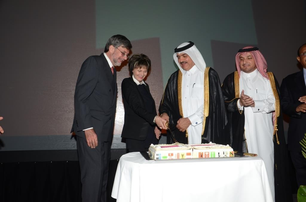 HE Ambassador Etienne Thévoz, Former President of the Swiss Confederation Mrs. Calmy-Rey, Minister of Municipality and Environment Mohamed bin Abdullah al-Rumaihi and Ministry of Foreign Affairs Protocol Department Director Ibrahim Yousuf Fakhro